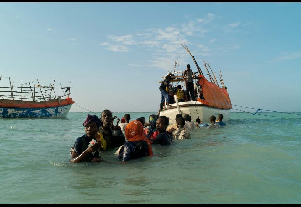 Somali refugees departing Shimbiro Beach to board smugglers' boats to Yemen. Only 11 of the people who took this boat ever reach