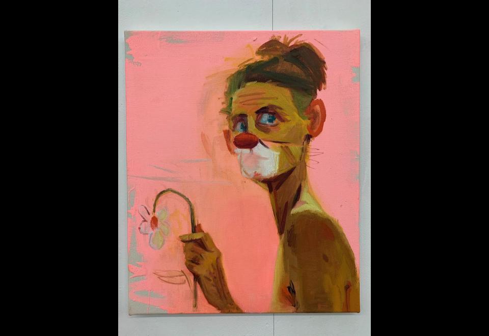 Autoportrait clown/fleur, 2020