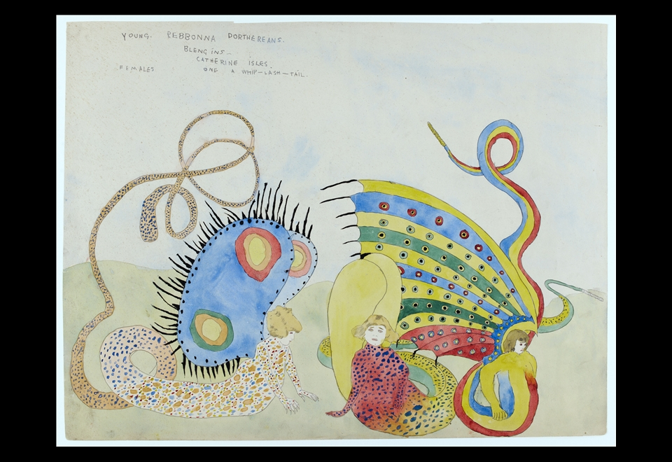 Henry Darger, Young Rebonna Dorthereans  Blengins - Catherine Isles, Female, One whip-lash-tail, 1920 – 1930
